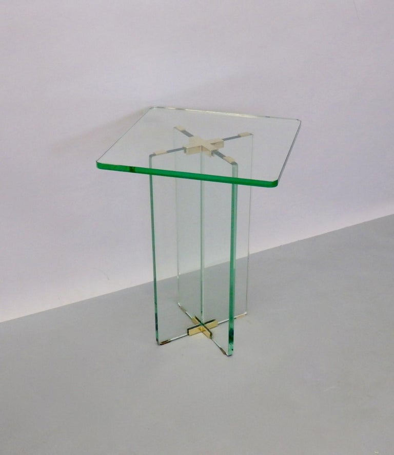 Architecturally Styled Green Edge Glass Side Table Attributed to Fontana Arte For Sale 7