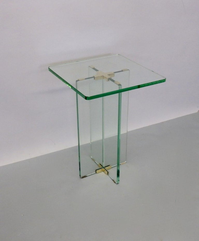Architecturally Styled Green Edge Glass Side Table Attributed to Fontana Arte For Sale 6