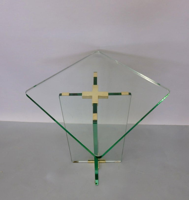 Mid-Century Modern Architecturally Styled Green Edge Glass Side Table Attributed to Fontana Arte For Sale