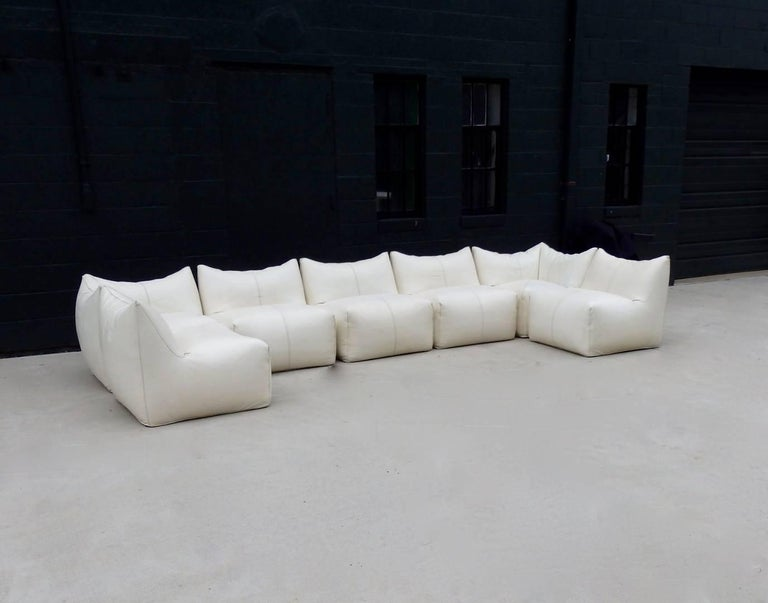 Mid-Century Modern Seven Piece Mario Bellini B&B Italia White Leather Le Bambole Sectional For Sale