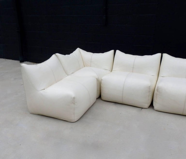 Seven Piece Mario Bellini B&B Italia White Leather Le Bambole Sectional For Sale 1