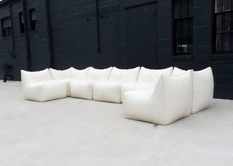 Mid-20th Century Seven Piece Mario Bellini B&B Italia White Leather Le Bambole Sectional For Sale