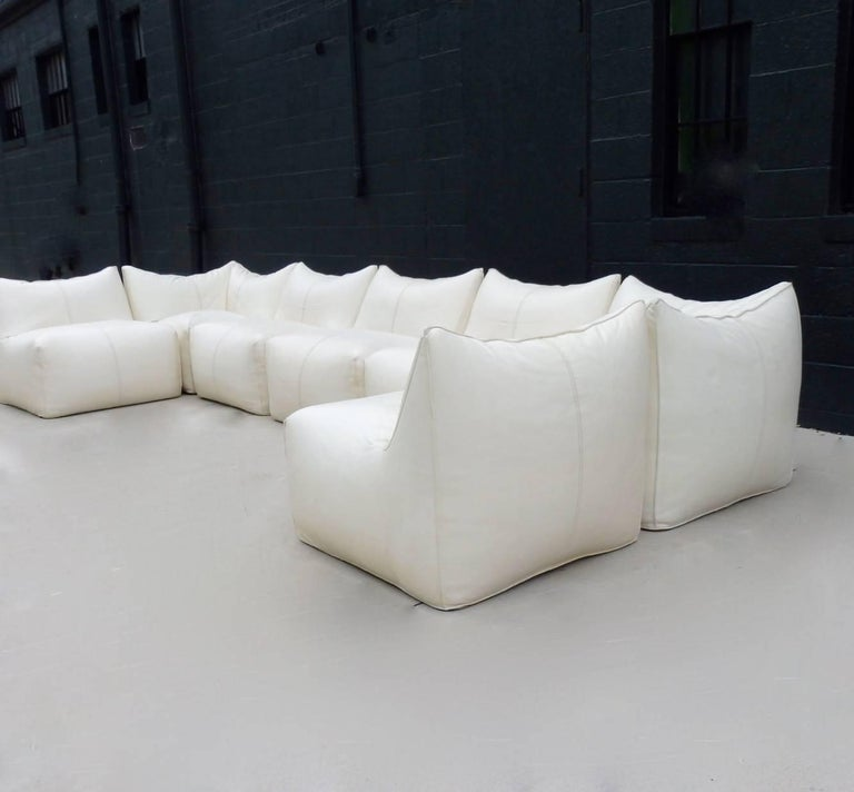 Seven Piece Mario Bellini B&B Italia White Leather Le Bambole Sectional For Sale 4