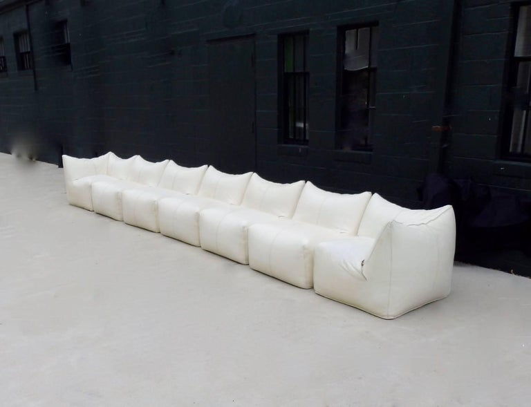Seven Piece Mario Bellini B&B Italia White Leather Le Bambole Sectional For Sale 9