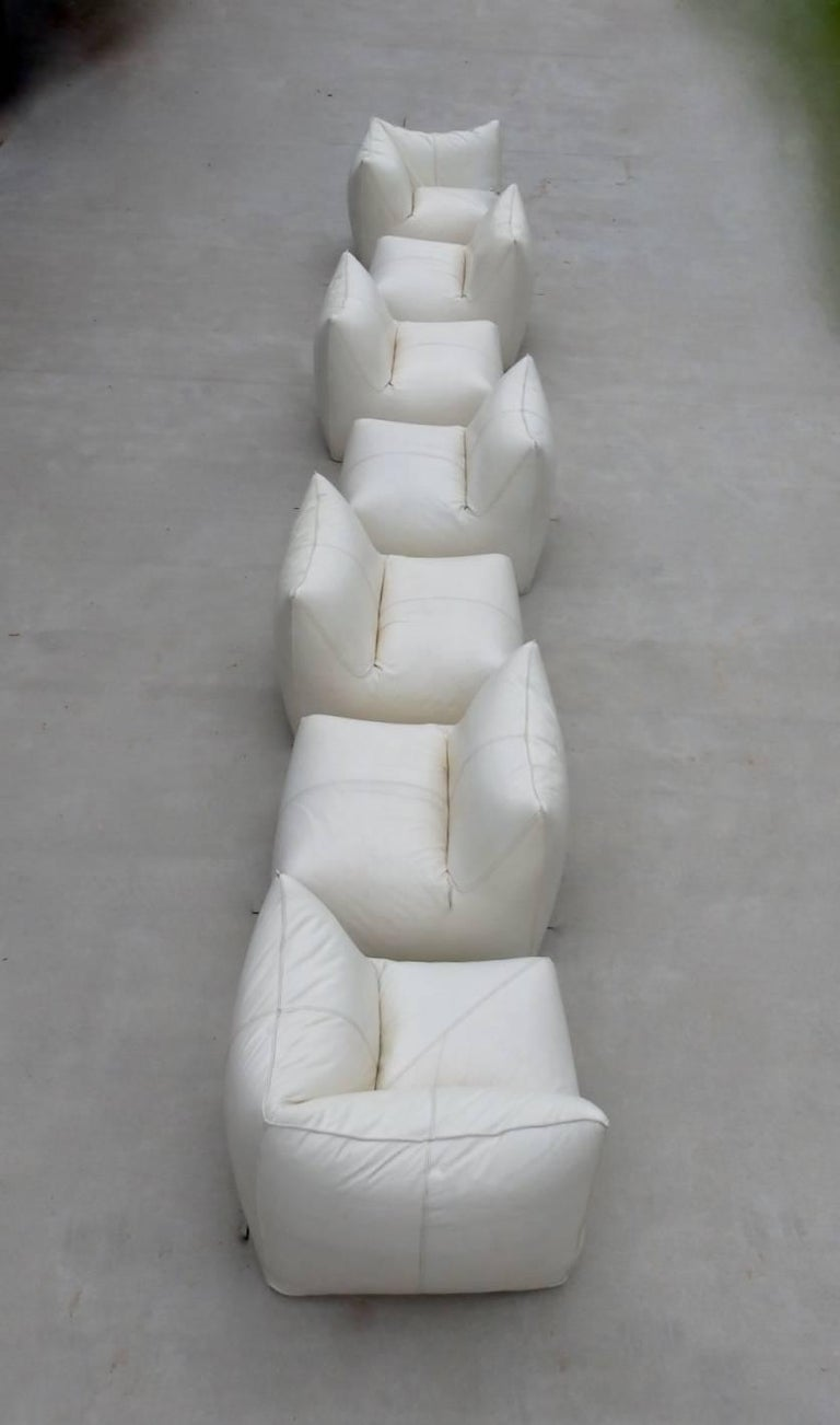 Seven Piece Mario Bellini B&B Italia White Leather Le Bambole Sectional For Sale 8