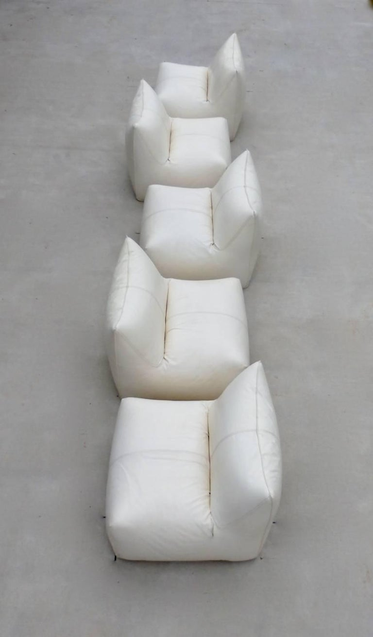 Seven Piece Mario Bellini B&B Italia White Leather Le Bambole Sectional For Sale 10