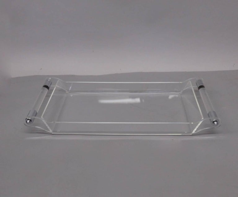 Lucite with Chrome Serving Tray In Good Condition For Sale In Ferndale, MI