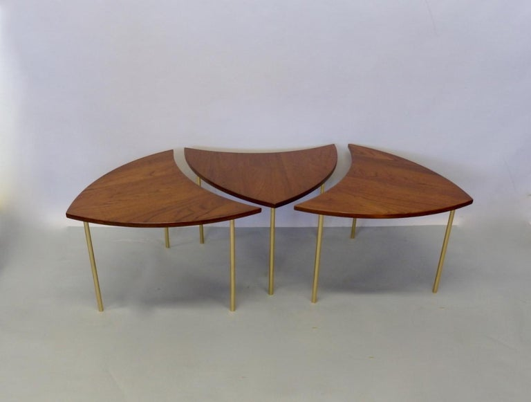 Danish Three Teak with Brass Leg Peter Hvidt Olga Molgaard Flying Wedge Stack Tables For Sale