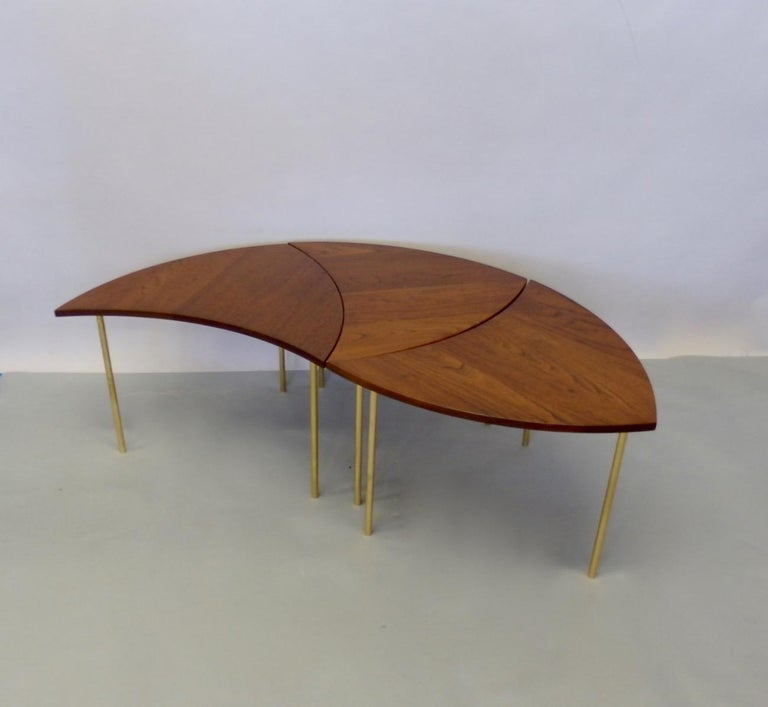 20th Century Three Teak with Brass Leg Peter Hvidt Olga Molgaard Flying Wedge Stack Tables For Sale