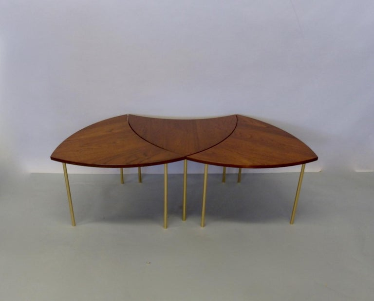 Polished Three Teak with Brass Leg Peter Hvidt Olga Molgaard Flying Wedge Stack Tables For Sale