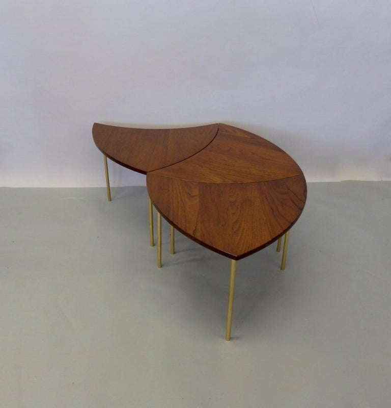 Three Teak with Brass Leg Peter Hvidt Olga Molgaard Flying Wedge Stack Tables In Excellent Condition For Sale In Ferndale, MI