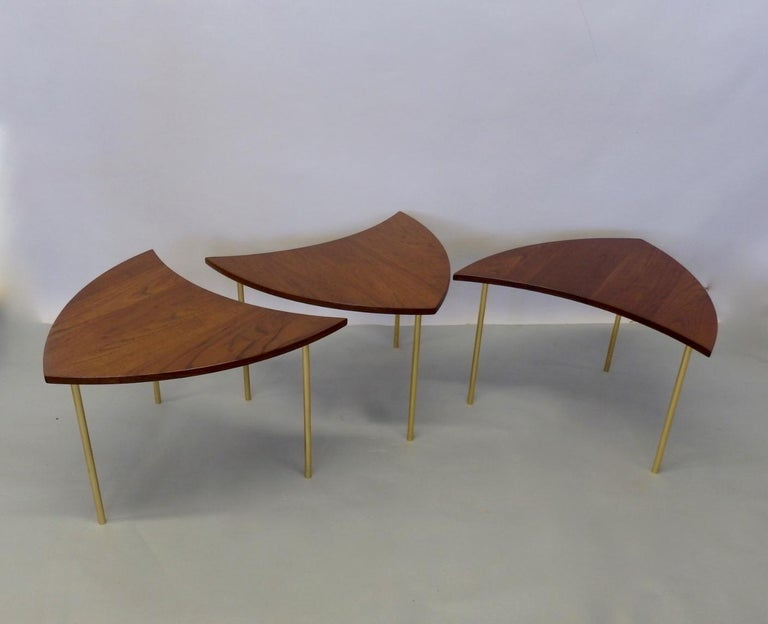 Mid-Century Modern Three Teak with Brass Leg Peter Hvidt Olga Molgaard Flying Wedge Stack Tables For Sale