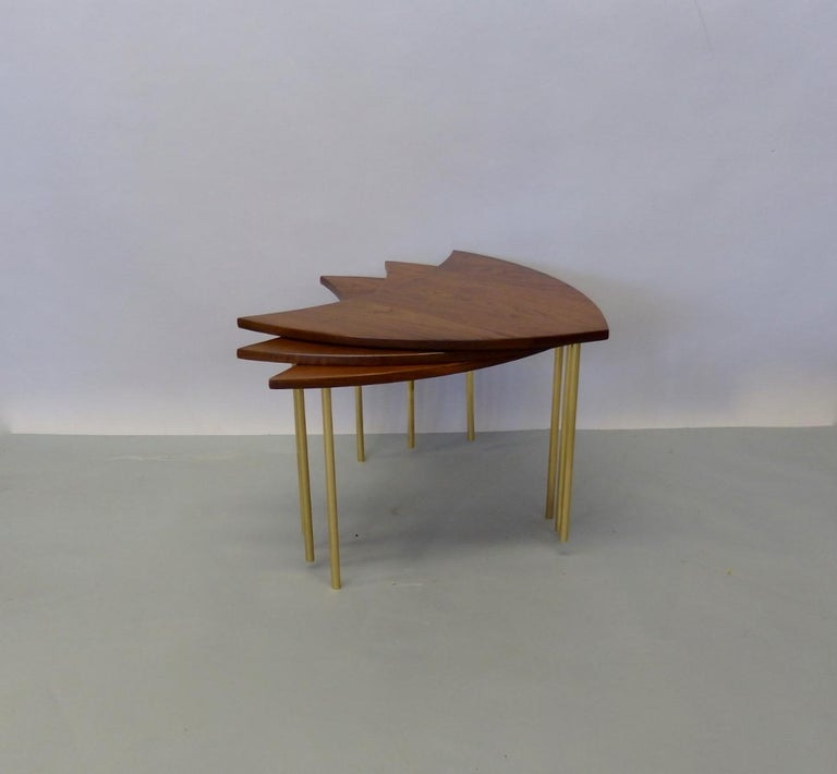 Three Teak with Brass Leg Peter Hvidt Olga Molgaard Flying Wedge Stack Tables For Sale 1