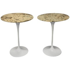 Pair of Custom Stone Top Early Iron Base Saarinen for Knoll Tulip Tables