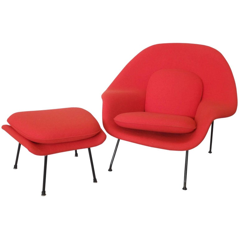Eero Saarinen for Knoll Womb chair with ottoman, mid-20th century, offered by Tom Gibbs Studio