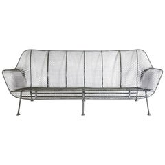 Completely Restored Woodard Full Size Wrought Iron Couch in Black Powder Coat