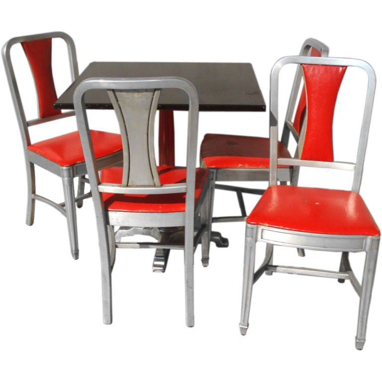 Four Speak Easy Art Deco Cabaret Cafe Tables with Eight Alcoa Aluminum  Chairs