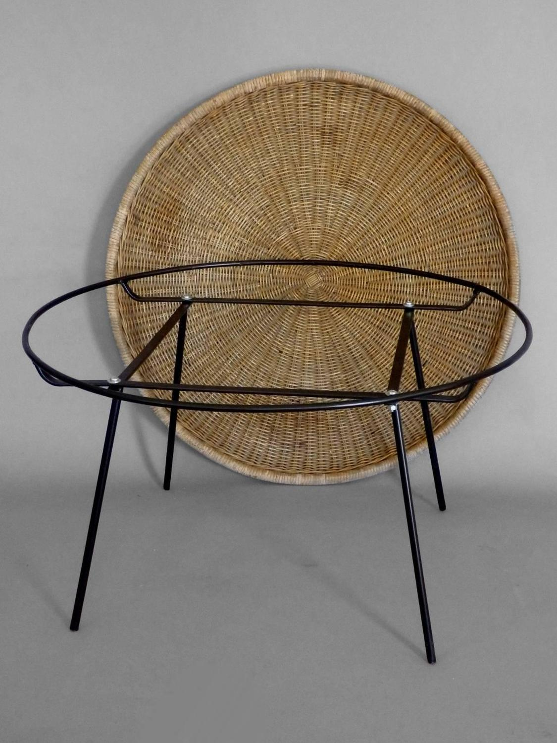 Rattan on wrought iron catch all coffee table for sale at 1stdibs Coffee table with wicker baskets