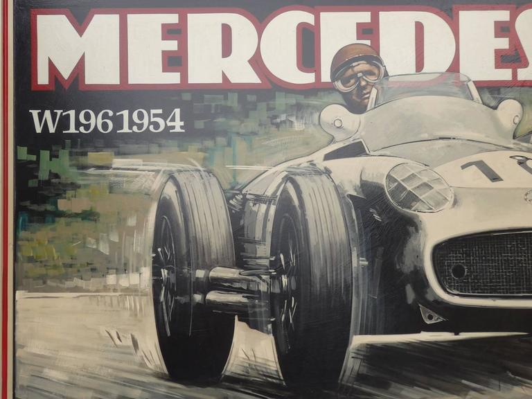 Artist Tony Upson, English, Born 1960. Depicts Juan Manuel Fangio German Swiss Grand Prix 1954.