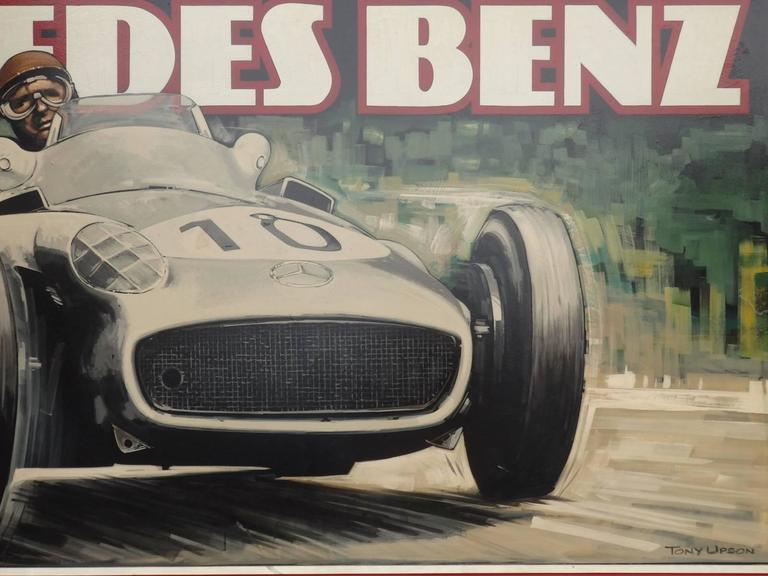 Mid-Century Modern Massive Oil on Board Mercedes Grand Prix Race Car Painting For Sale