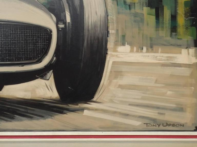 English Massive Oil on Board Mercedes Grand Prix Race Car Painting For Sale