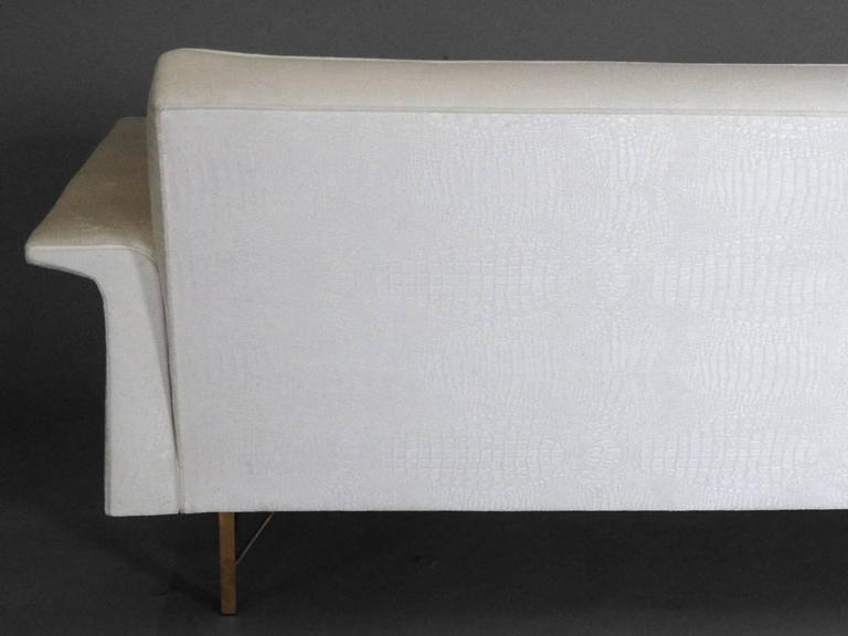 Large Brass Based Edward Wormley Dunbar Style Couch 3