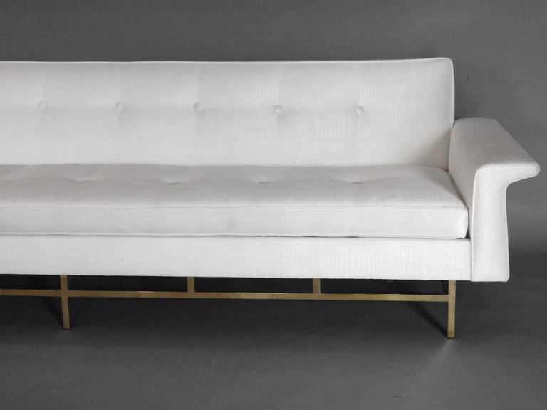 Large Brass Based Edward Wormley Dunbar Style Couch 4