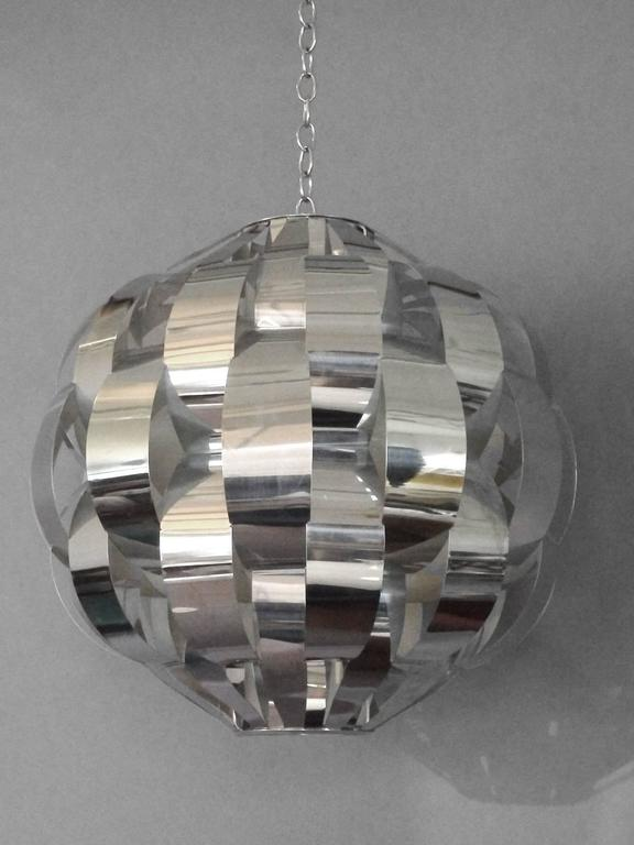 Large woven chrome hanging pendant entry lamp, a hanging jewel.