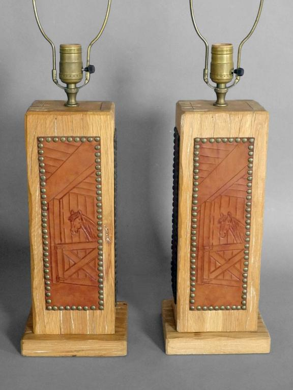 Pair of ranch oak western theme cottage lodge table lamps for sale pair of table lamps attributed to ranch oak company bases measures 65 wide aloadofball Gallery