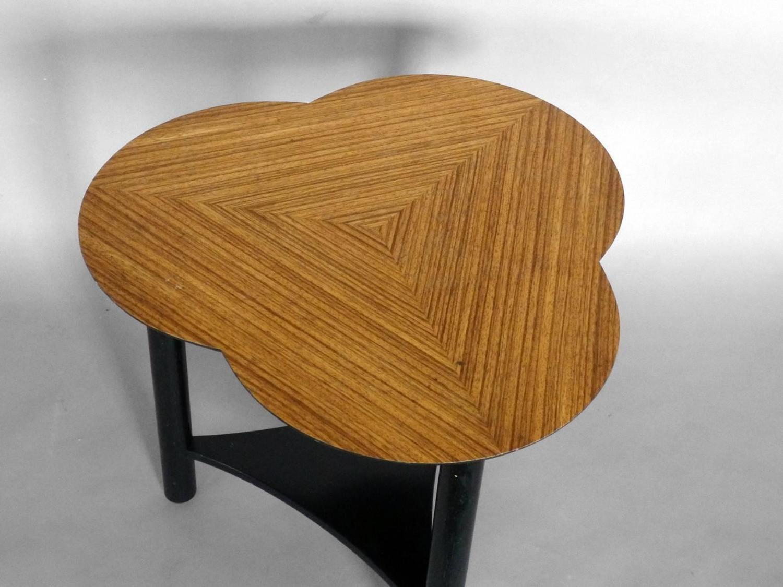 pair of edward wormley style ebonized base zebra wood
