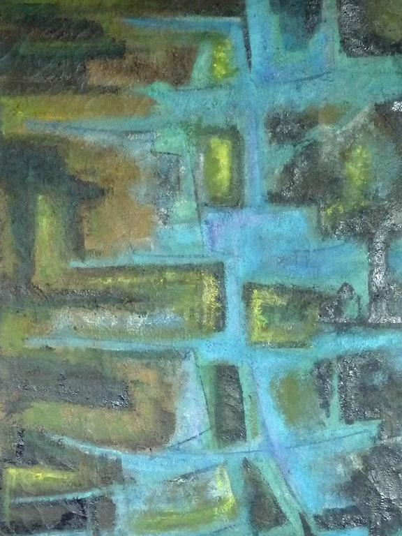 Mid-Century Modern Large Textured Abstract Oil Painting by Robert Berger For Sale