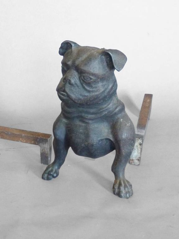 Early Cast Iron Bulldog Andirons In Excellent Condition For Sale In Ferndale, MI