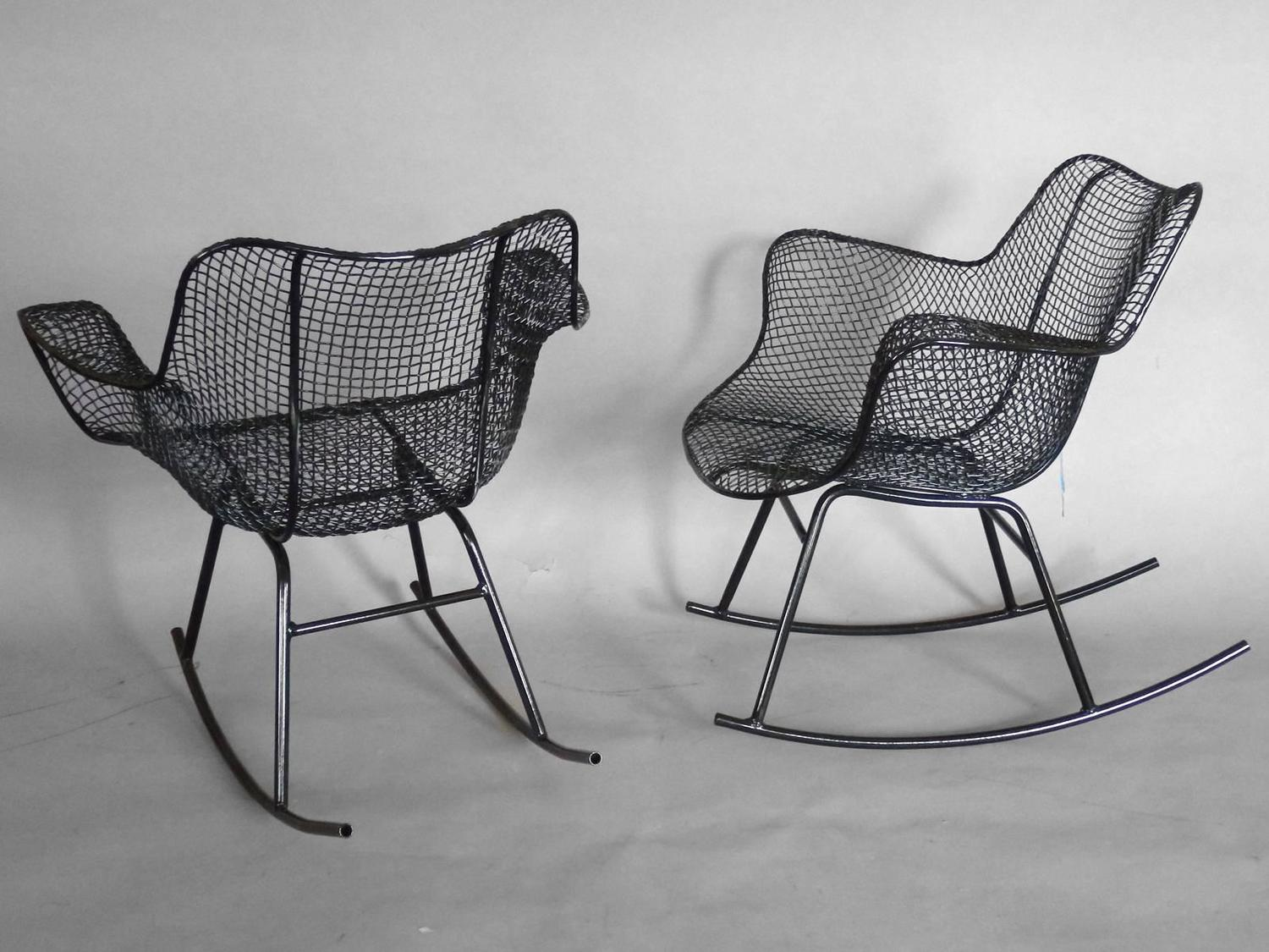 Pair Of Woodard Wrought Iron Rocking Chairs At 1stdibs