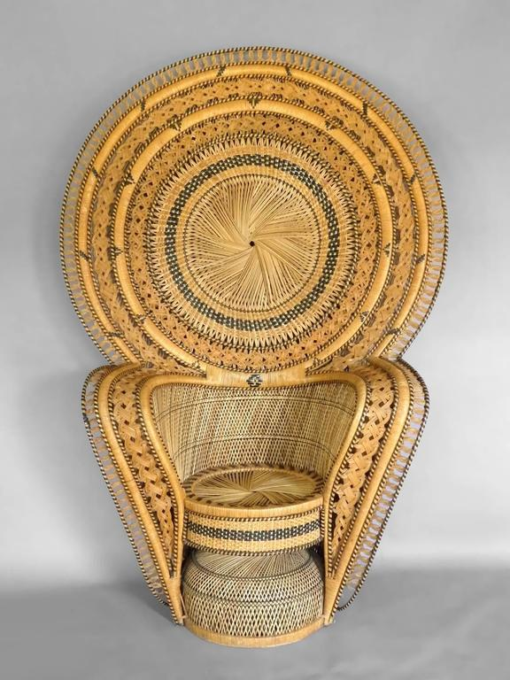 Large And Impressive Woven Rattan Peacock Chair With Ottoman. Ottoman: 19  Diameter X 15