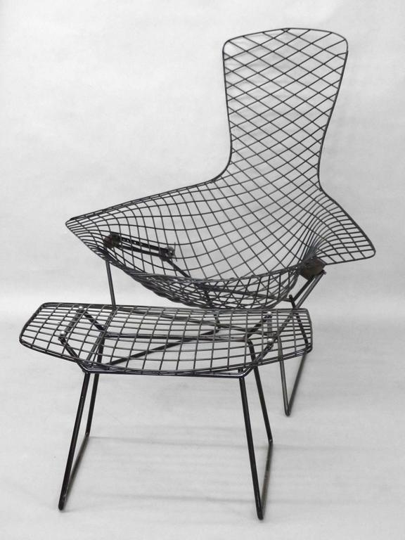 Harry Bertoia For Knoll Black Bird Chair With Ottoman At