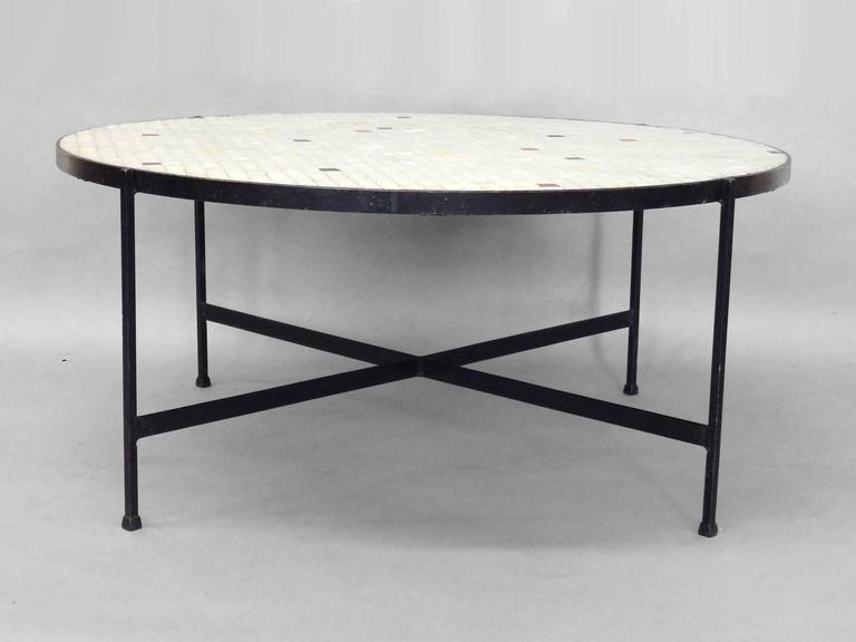Gentil Black Wrought Iron With Inset Glass Tile Top Coffee Table. In The Style Of  Paul