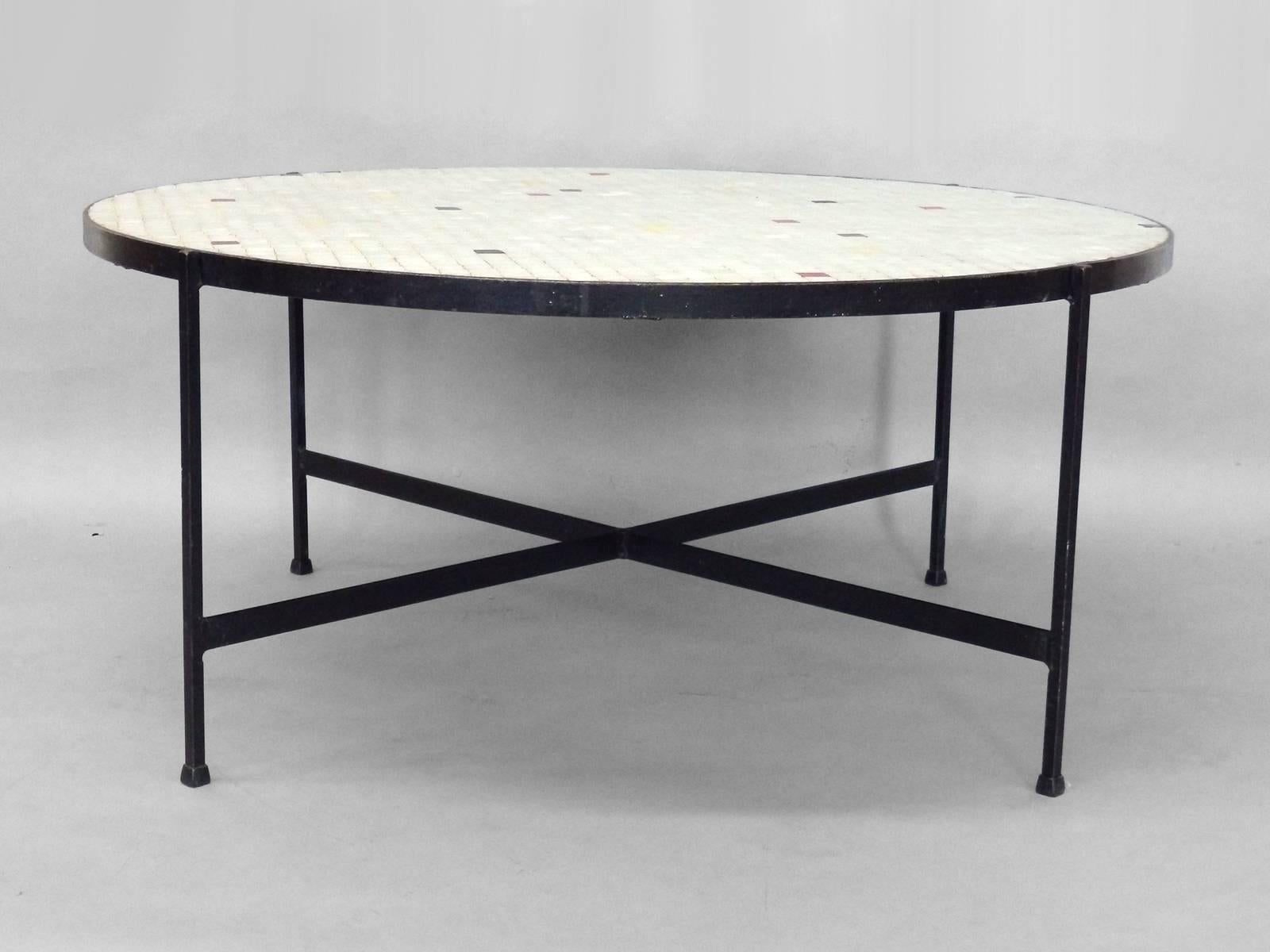 Nice Black Wrought Iron With Inset Glass Tile Top Coffee Table For Sale At  1stdibs