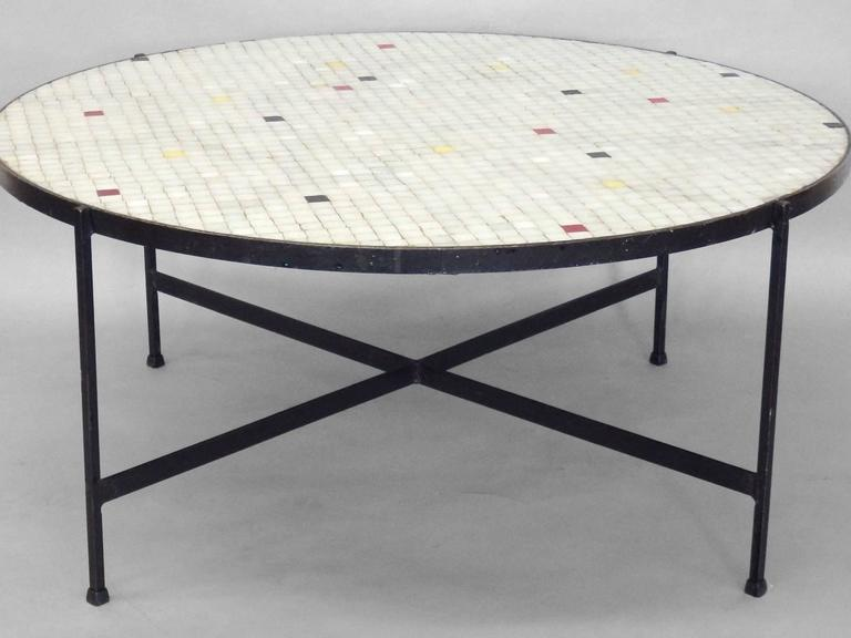 Black wrought iron with inset glass tile top coffee table for Oval wrought iron coffee table with glass top