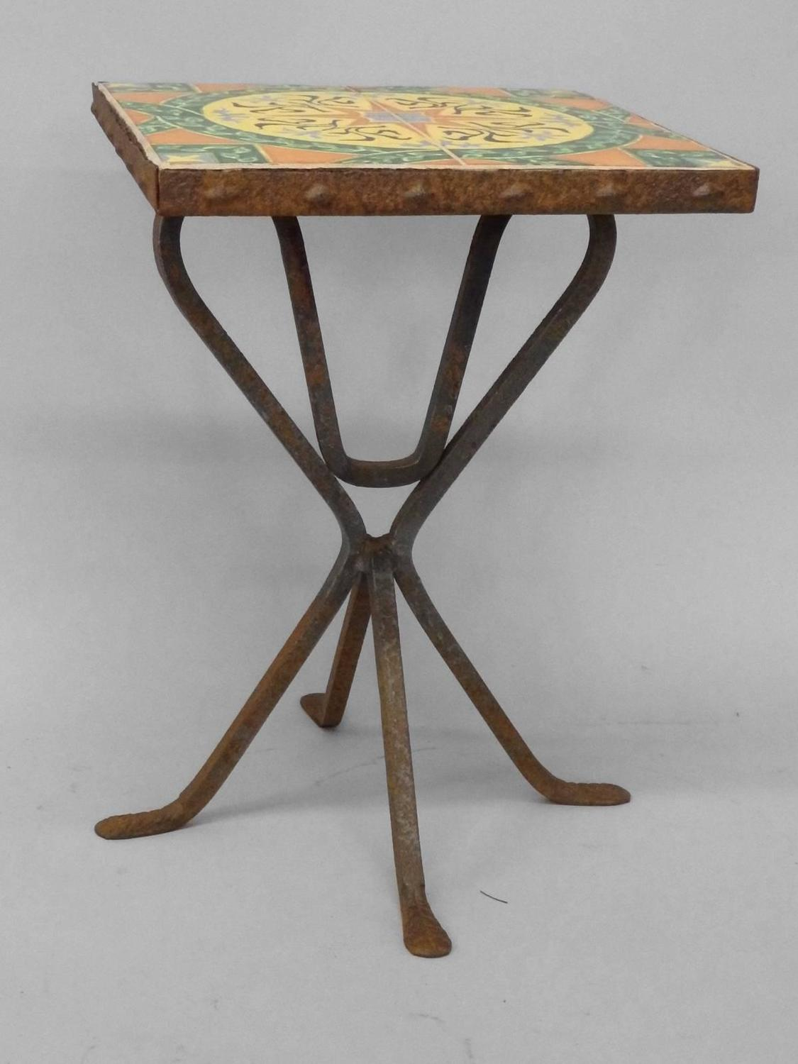 Wrought iron base catalina tile top occasional table for for Wrought iron side table base