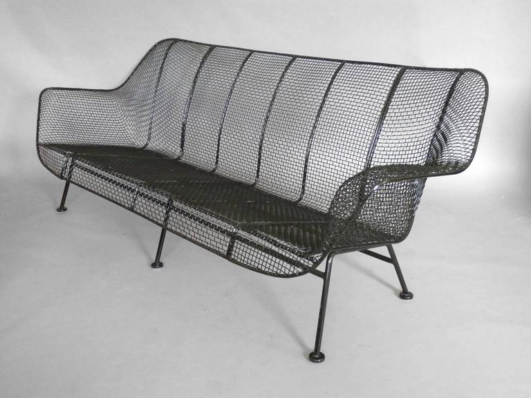 Full Size Woodard Wrought Iron with Steel Mesh Couch 4