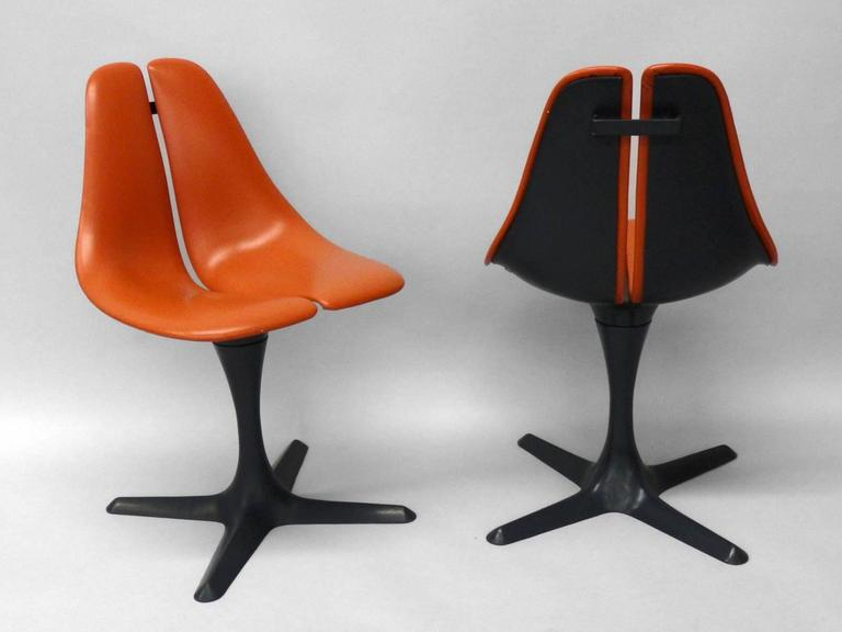 Pair Of Maurice Burke Tulip Style Pedestal Chairs For Sale