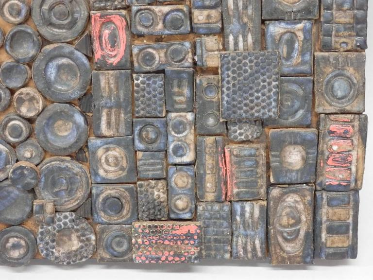 Mid-Century Modern Svea Kline Wheels of Detroit Abstract Pottery Wall Sculpture For Sale