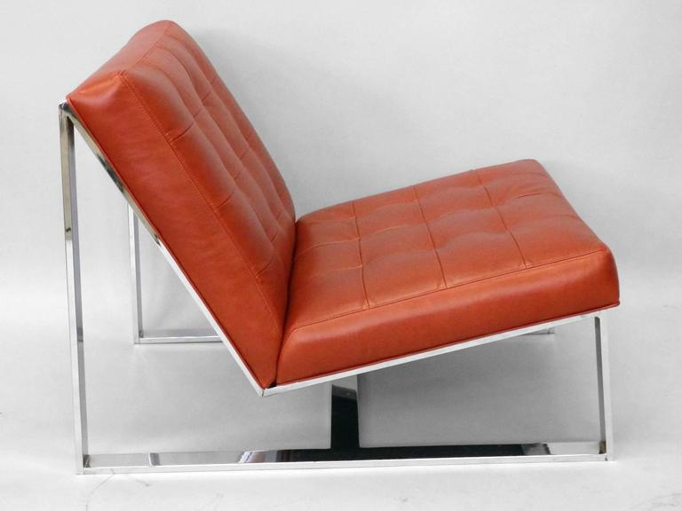 Pair of Milo Baughman Red Leather Armless Lounge Chairs In Excellent Condition For Sale In Ferndale, MI