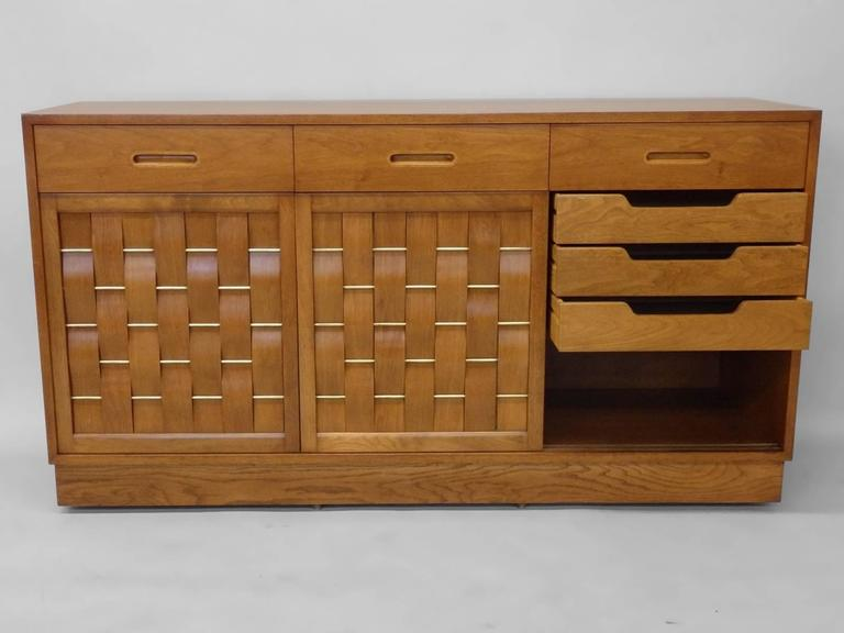 American Edward Wormley Dunbar Woven Front Credenza For Sale