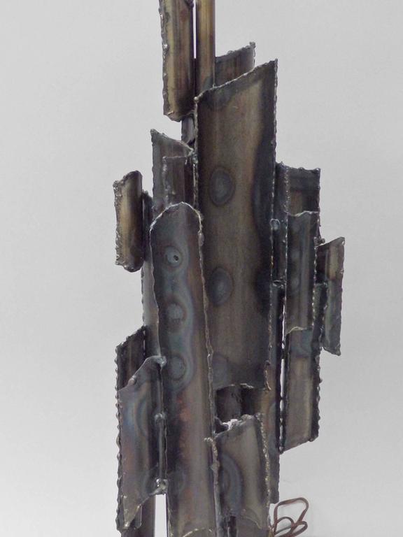 Italian Torch Cut Brutalist Marcello Fantoni Table Lamp For Sale