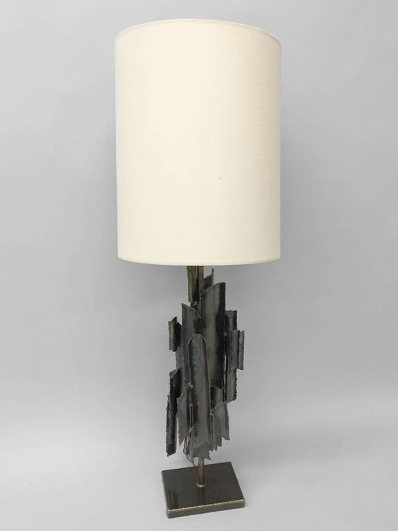 Torch Cut Brutalist Marcello Fantoni Table Lamp In Excellent Condition For Sale In Ferndale, MI