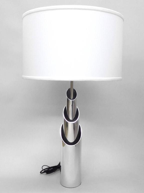 American Pair of Concentric Aluminum Tube Lamp Sculptures Attributed to James Prestini For Sale