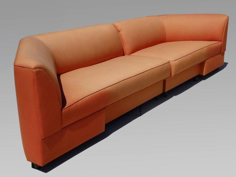 American Large Mid-Century Two-Piece Sectional Couch For Sale