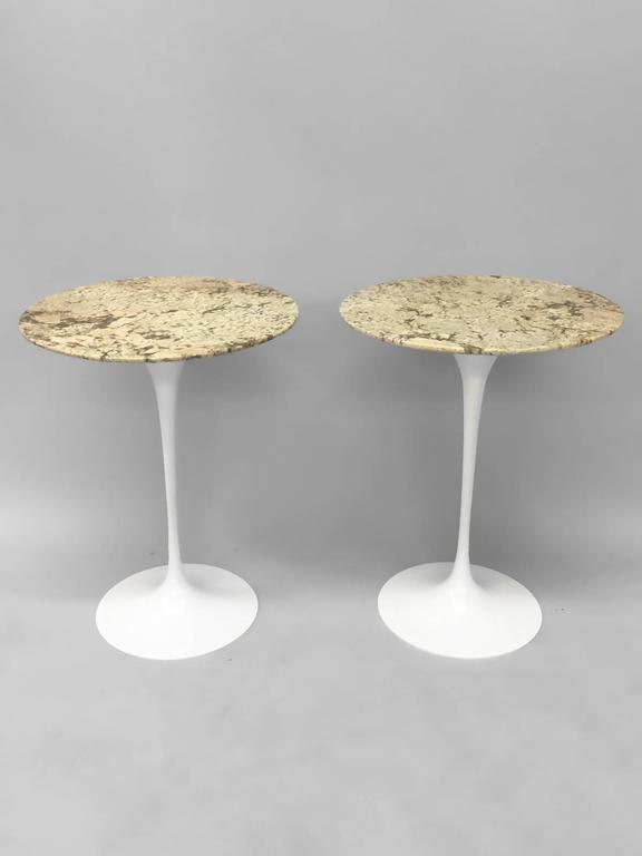 20th Century Pair of Custom Stone Top Iron Base Saarinen Knoll Tulip Tables For Sale