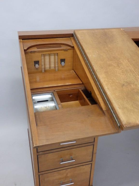 Brushed Johann Tapp Custom Built Art Deco Artists Drafting Desk with Hidden Compartments For Sale